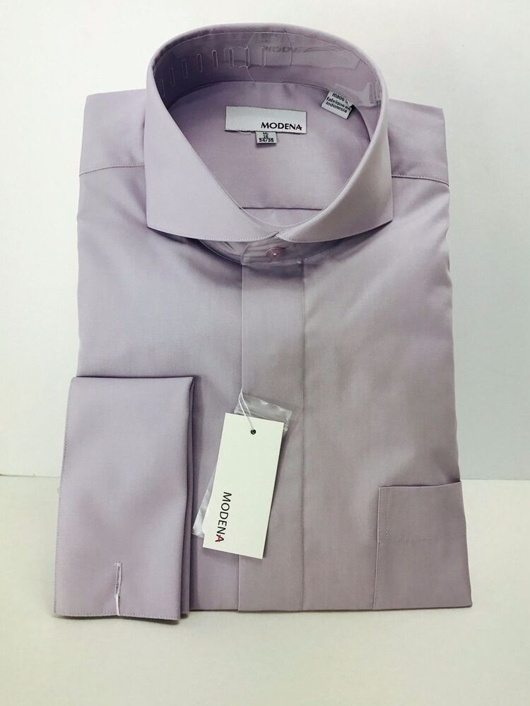 Men 39 s lavender dress shirt with cutaway collar french for Size 15 dress shirt