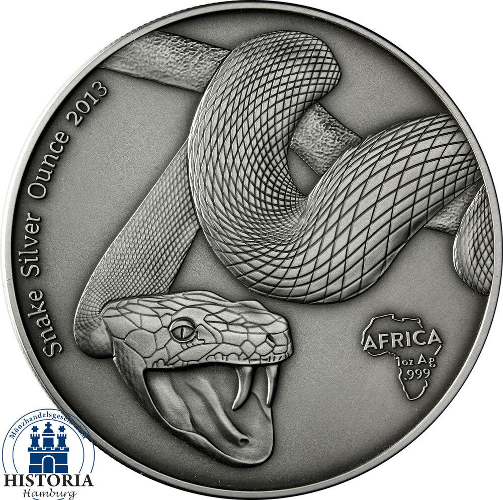 Africa Series 2013 Gabon 1000 Francs Snake Silver Ounce