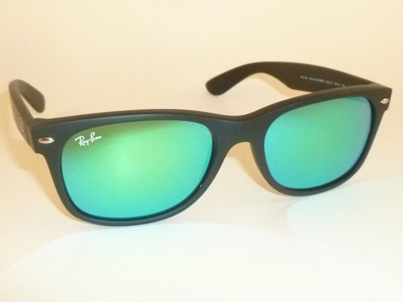 58824eba83d Details about RAY BAN Sunglasses Matte Black Rubber WAYFARER RB 2132 622 19  Green Mirror 55mm