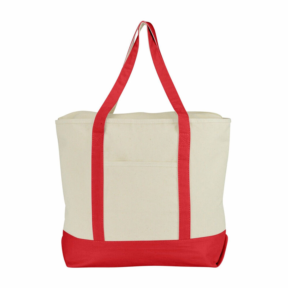 LARGE Zippered Boat Tote Canvas Reusable Grocery Shopping ...