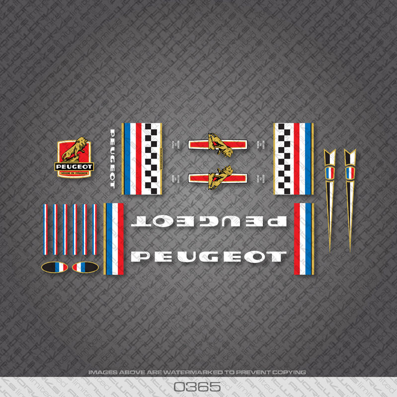 n.200 Transfers Decals Peugeot Premiere Bicycle Frame Stickers