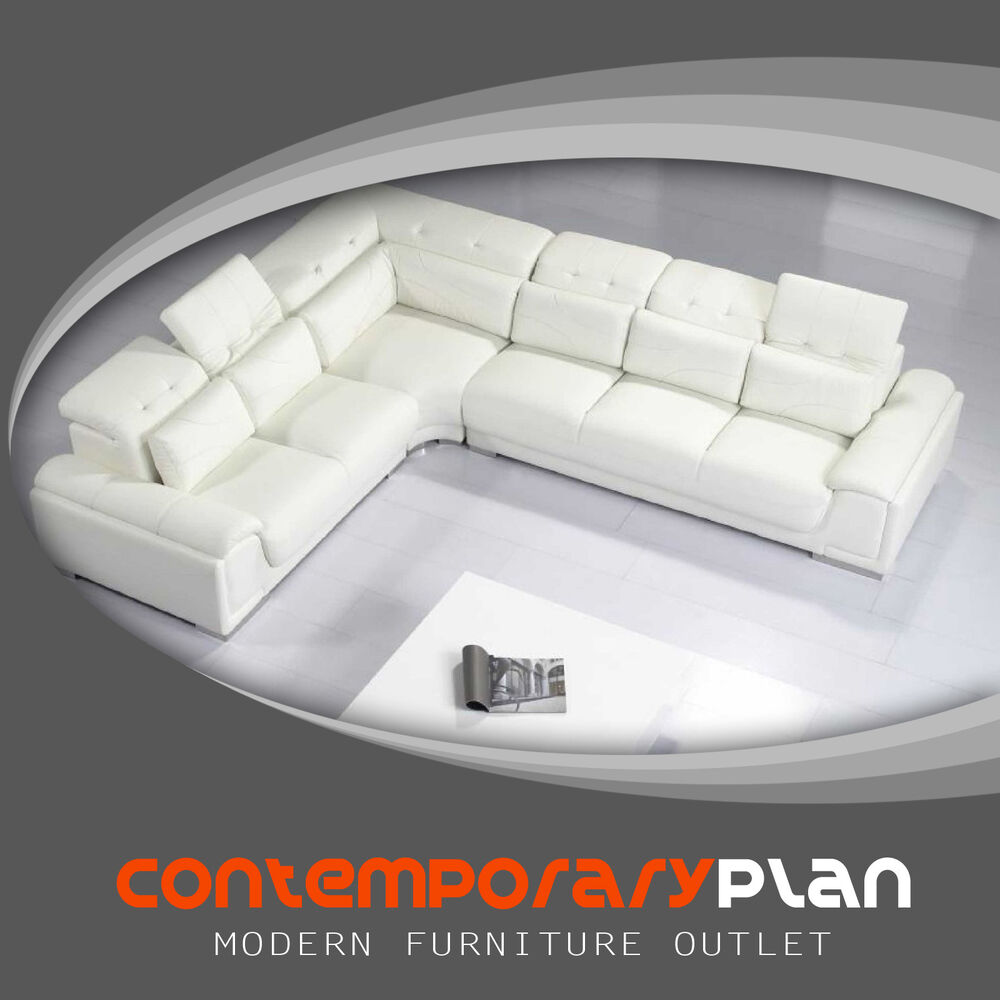 Sofa Pillows Contemporary: Contemporary White Leather Sectional Sofa W Adjustable