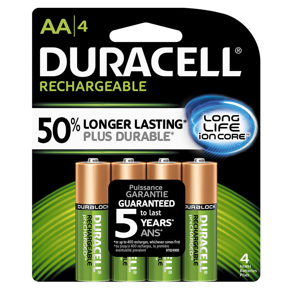 4 duracell aa rechargeable nimh batteries 2500 mah. Black Bedroom Furniture Sets. Home Design Ideas