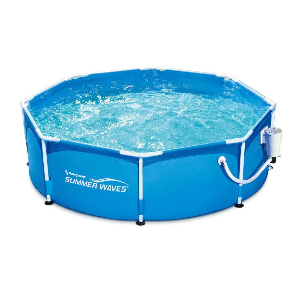 Summer waves 8 39 ft metal frame above ground pool with filter pump ebay for Swimming pool pumps for above ground pools
