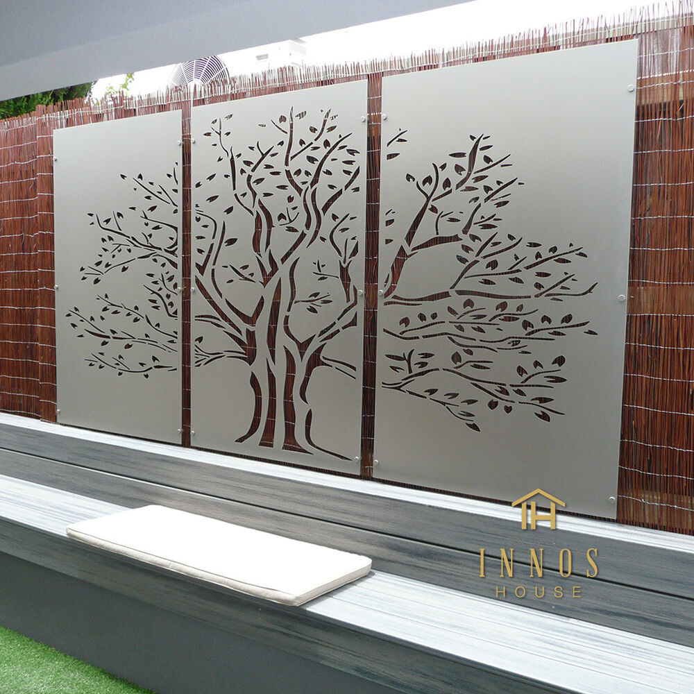 Tree of life triptych diy decorative screens indoor for Outdoor garden wall decor