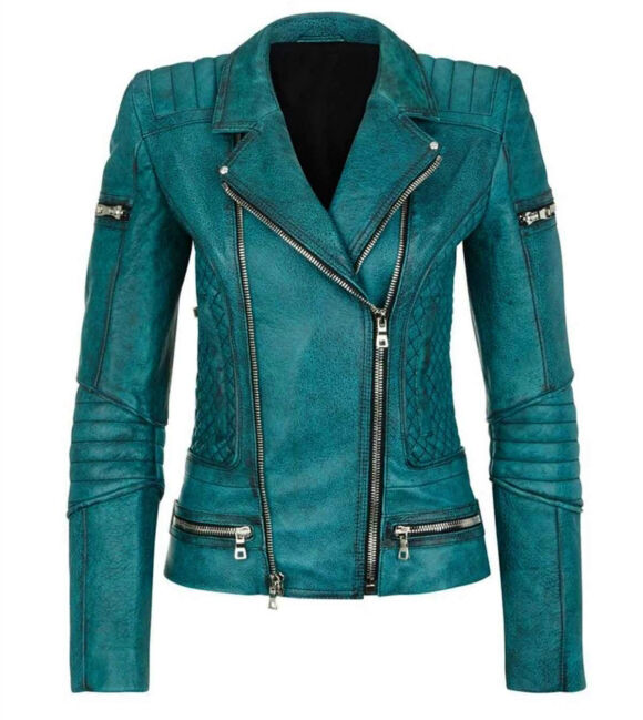 Women Slim Fit Diamond Quilted Moto Teal Leather Jacket ...