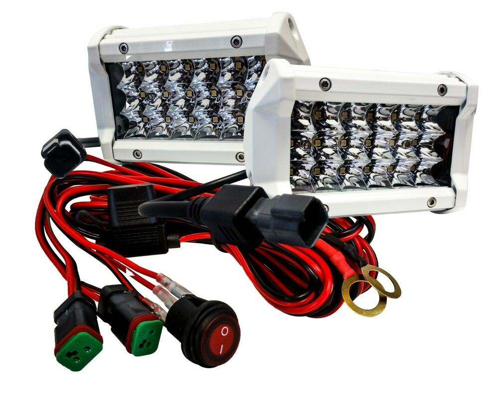 5 white triple row led light bar spot harness switch. Black Bedroom Furniture Sets. Home Design Ideas