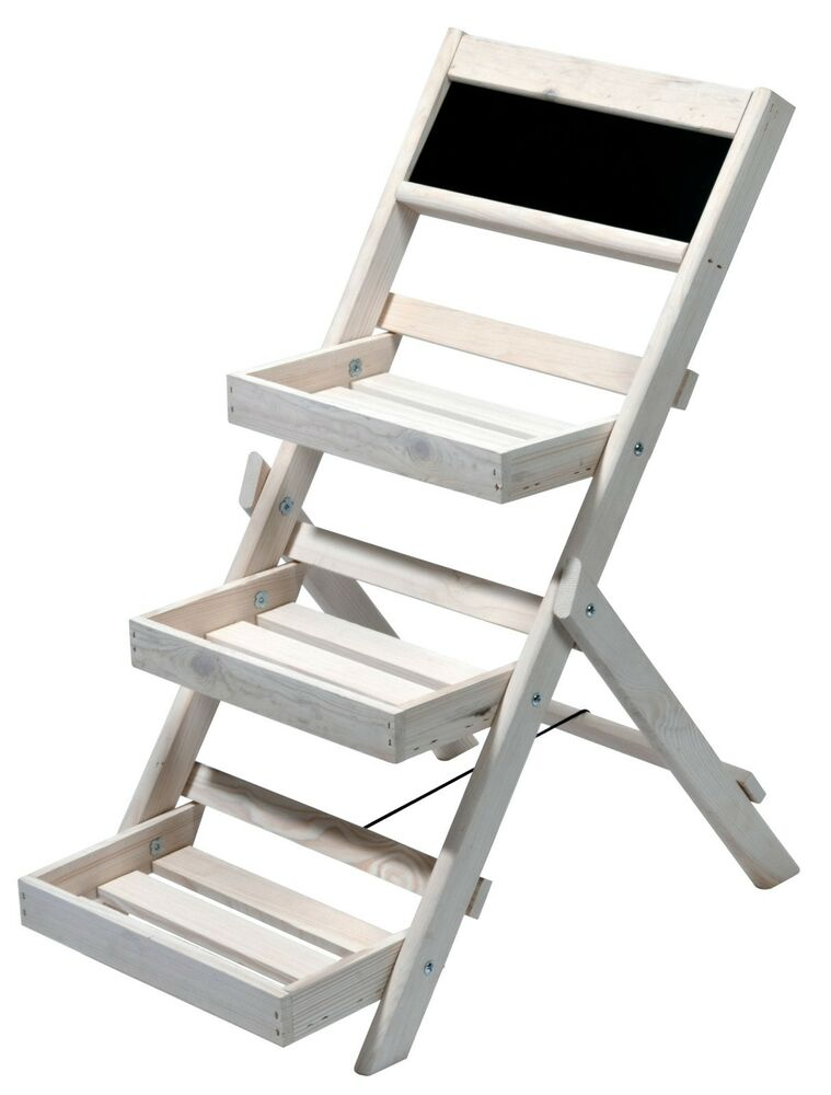 pflanztreppe mit 3 stufen blumentreppe blumenregal pflanzleiter f r drau en ebay. Black Bedroom Furniture Sets. Home Design Ideas