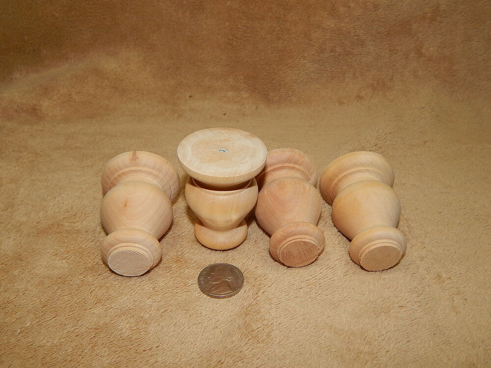 Unfinished Hard Wood Wooden Short Turned Bun Feet Lot Of 4