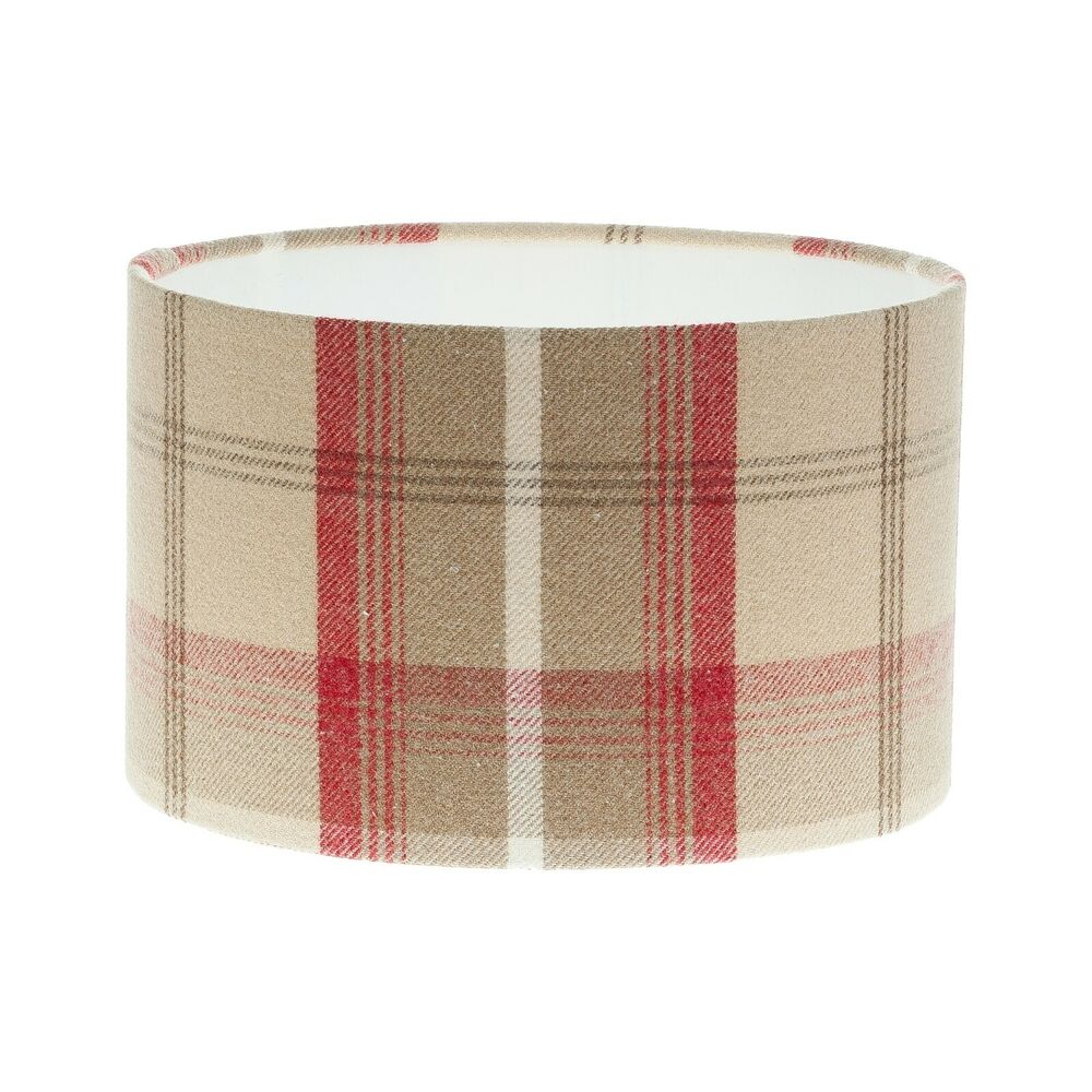 Tartan lampshade ebay cranberry red cream tartan check drum lampshade lamp shade tweed lightshade aloadofball Image collections