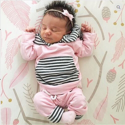 USA STOCK Newborn Baby Girls Clothes Pink Tops+Pants ...