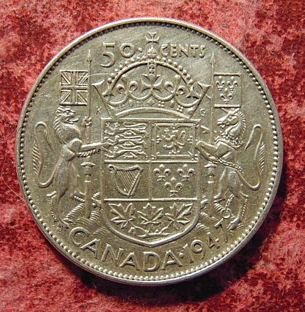 Canada Canadian 1947 Straight 7 Silver Fifty 50 Cent Cent