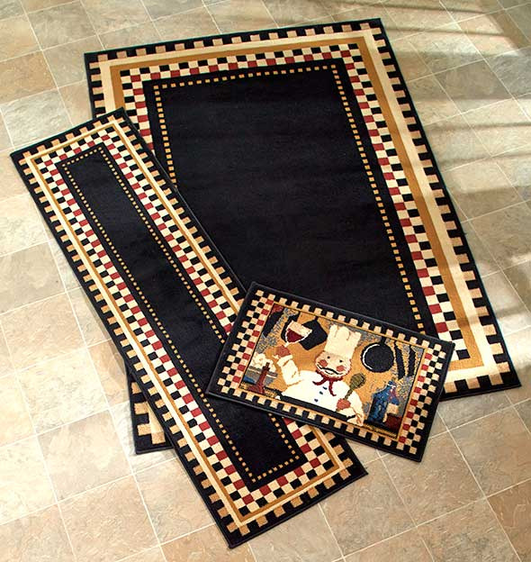 Decorative chef themed checkered nonskid area accent or for Home decorators jules rug