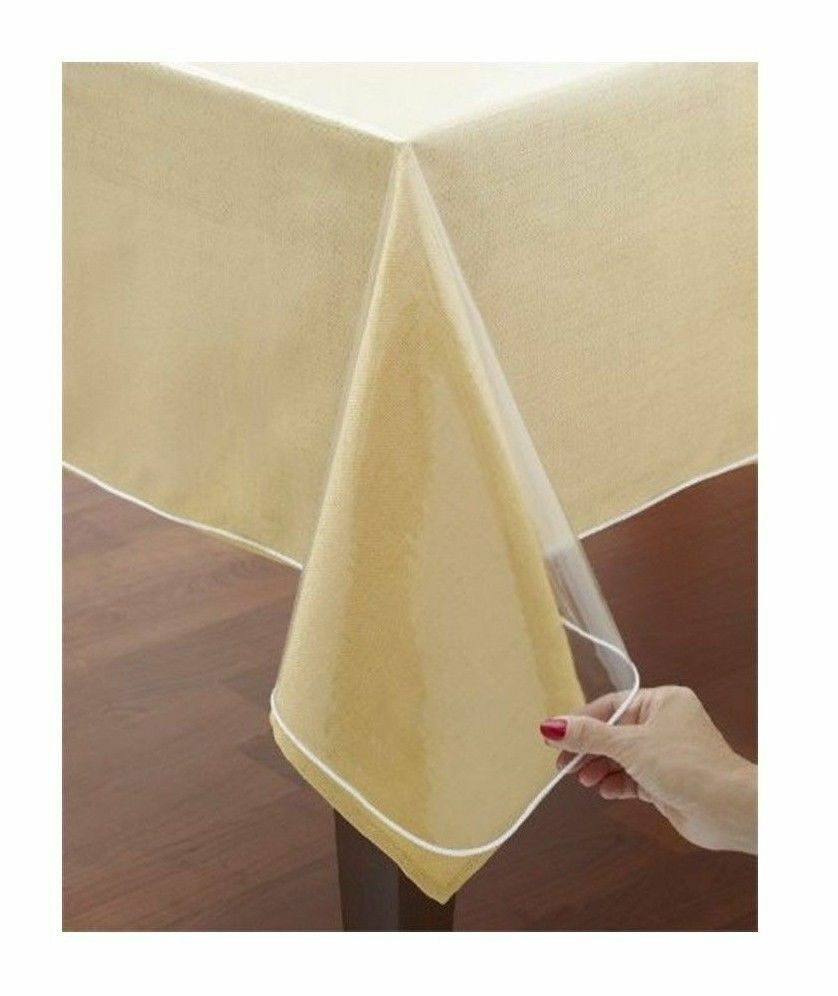 CRYSTAL CLEAR TABLE CLOTH PROTECTOR HEMMED BORDER 60quot X 90  : s l1000 from www.ebay.com size 838 x 996 jpeg 59kB