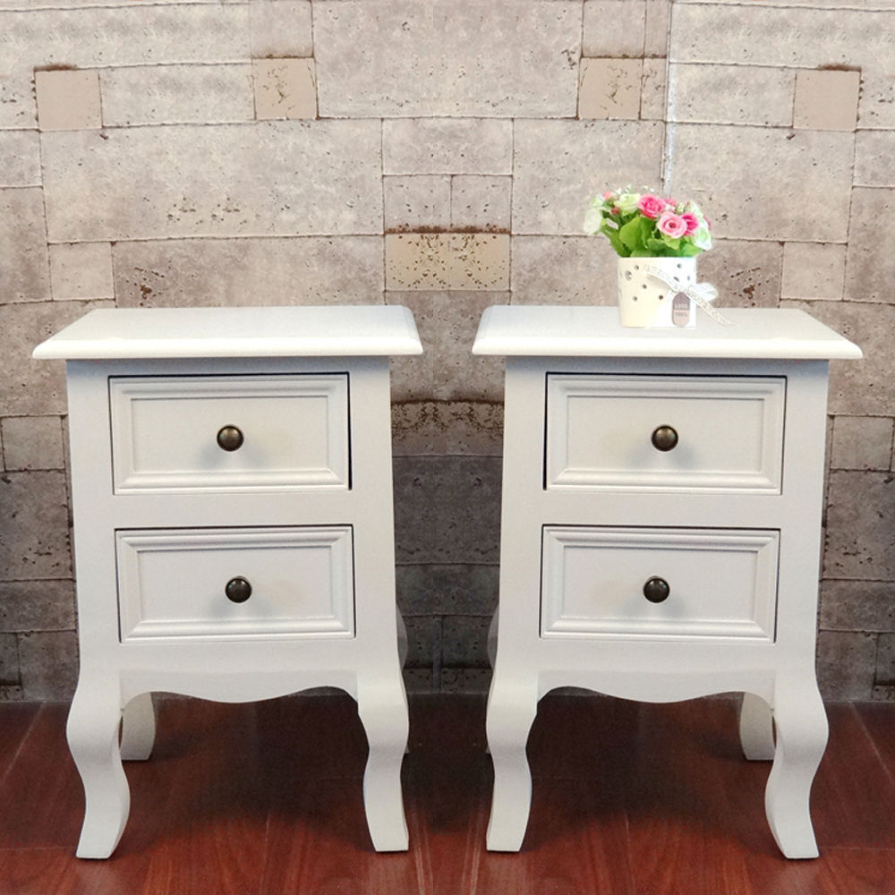 Pair of shabby chic white bedside storage unit cabinet for Bedside table shelf