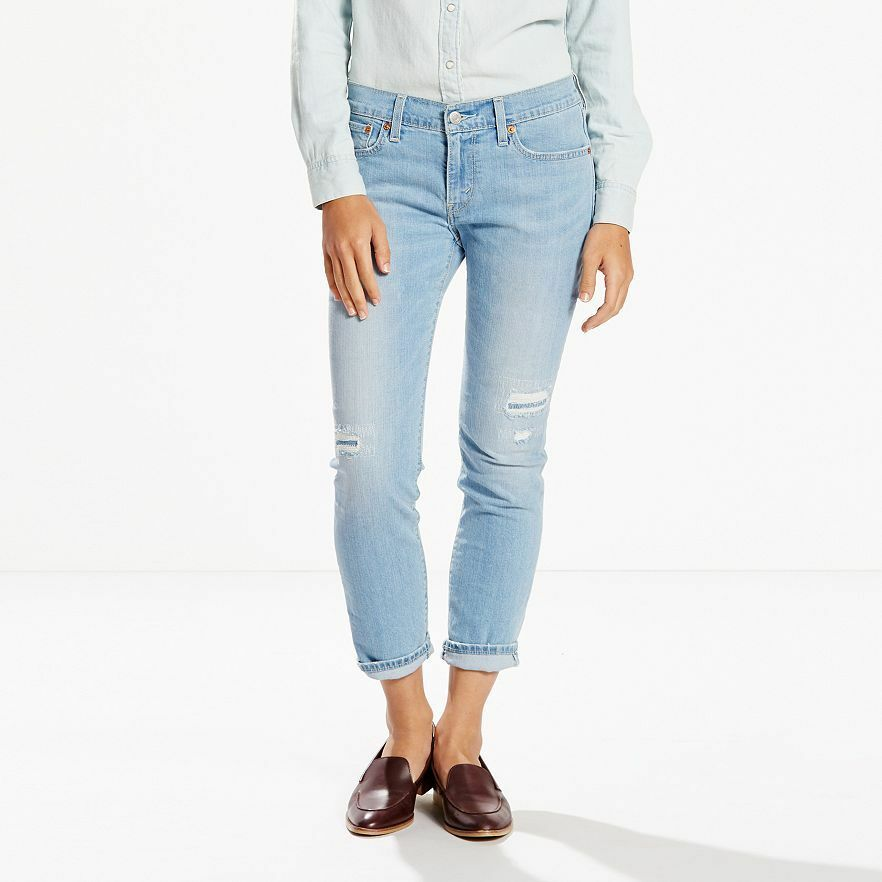 levis womens cuffed boyfriend cropped jeans mid rise. Black Bedroom Furniture Sets. Home Design Ideas