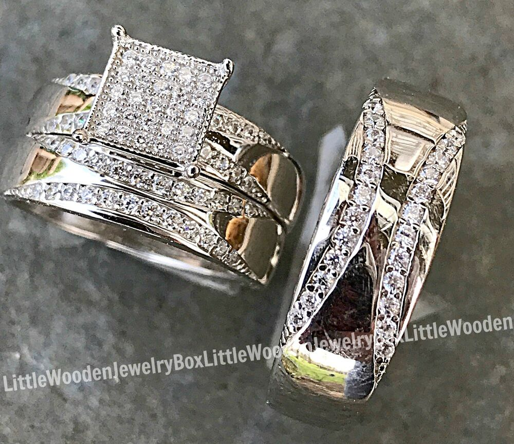 his and hers real sterling silver engagement ring wedding