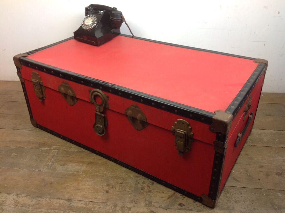 Vintage Red Trunk Chest Furniture Old Storage Treasure Blanket Box Coffee Table Ebay