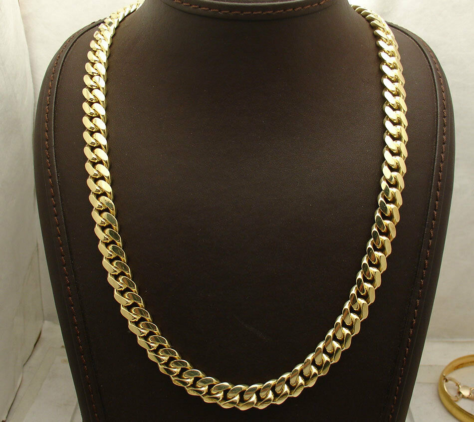 10mm Solid Tight Miami Cuban Chain Necklace Box Lock 14k Yellow Gold Clad Silver Ebay