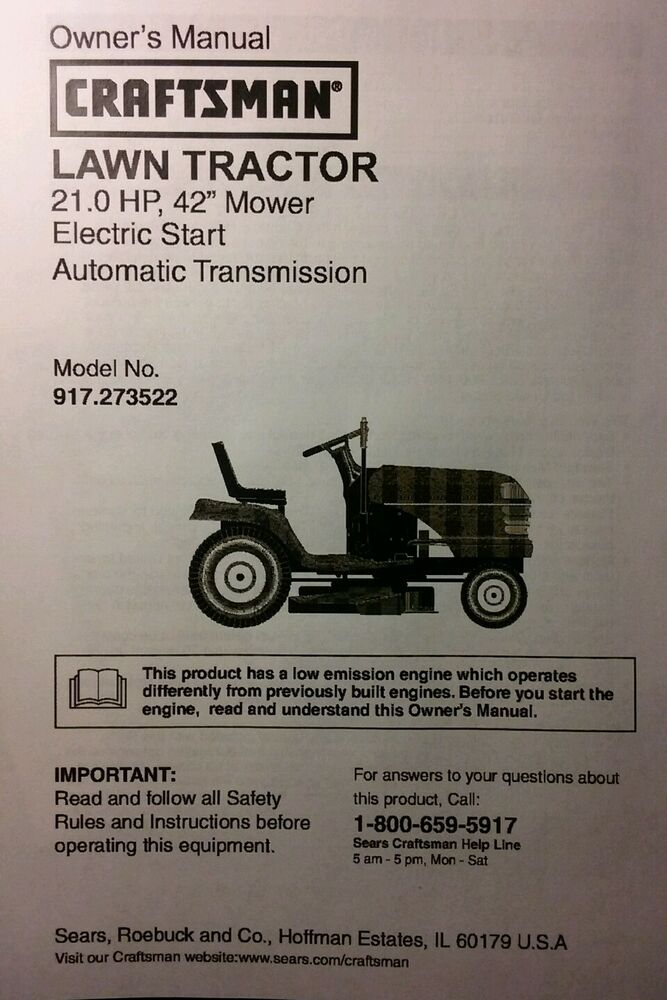 Craftsman Lt1000 Mower Manual : Sears craftsman lt lawn riding tractor mower owner