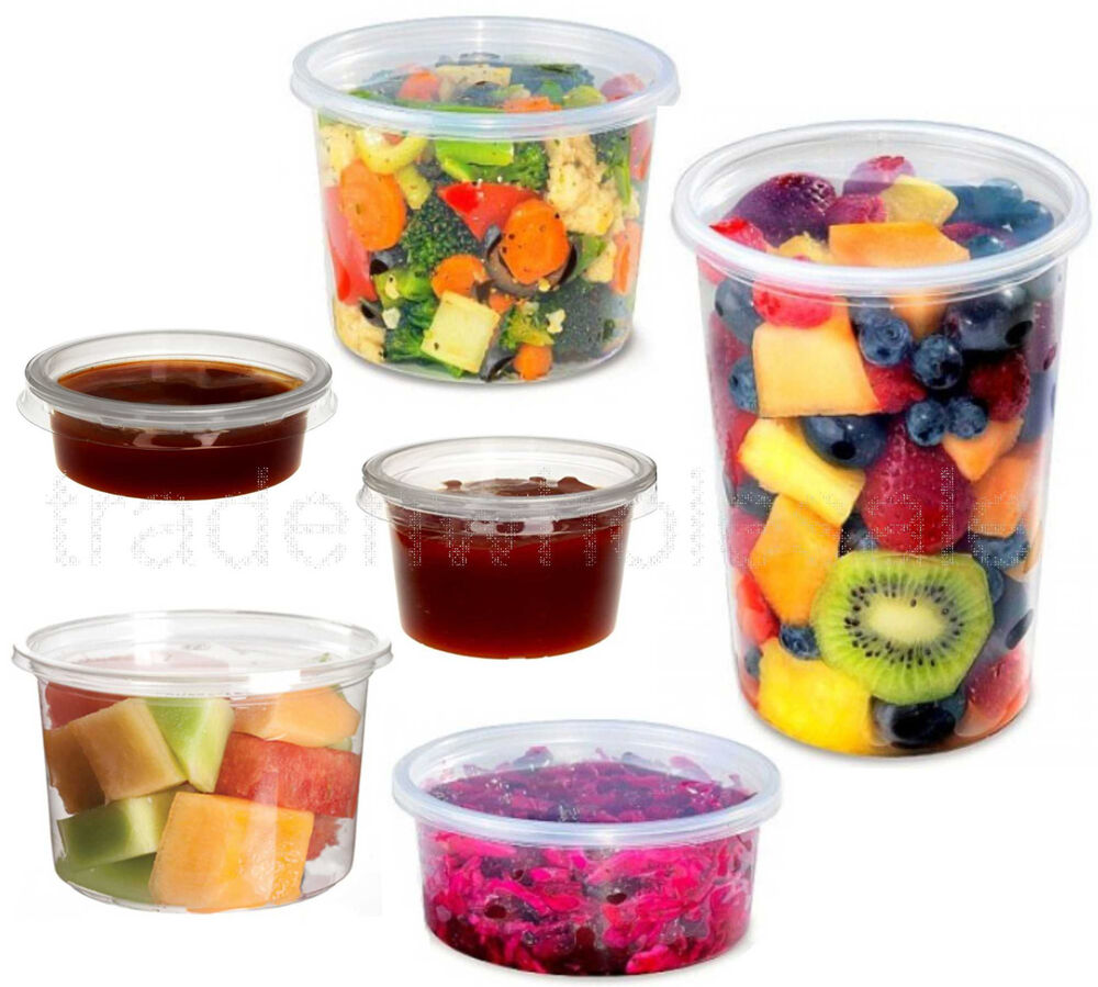 Round Food Containers Plastic Clear Storage Tubs With Lids