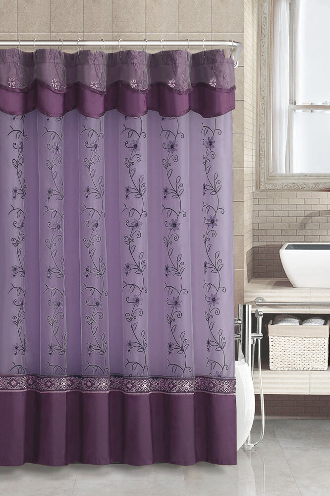 Purple Fabric Shower Curtain 2 Layered Embroidered Attached Valance Ebay