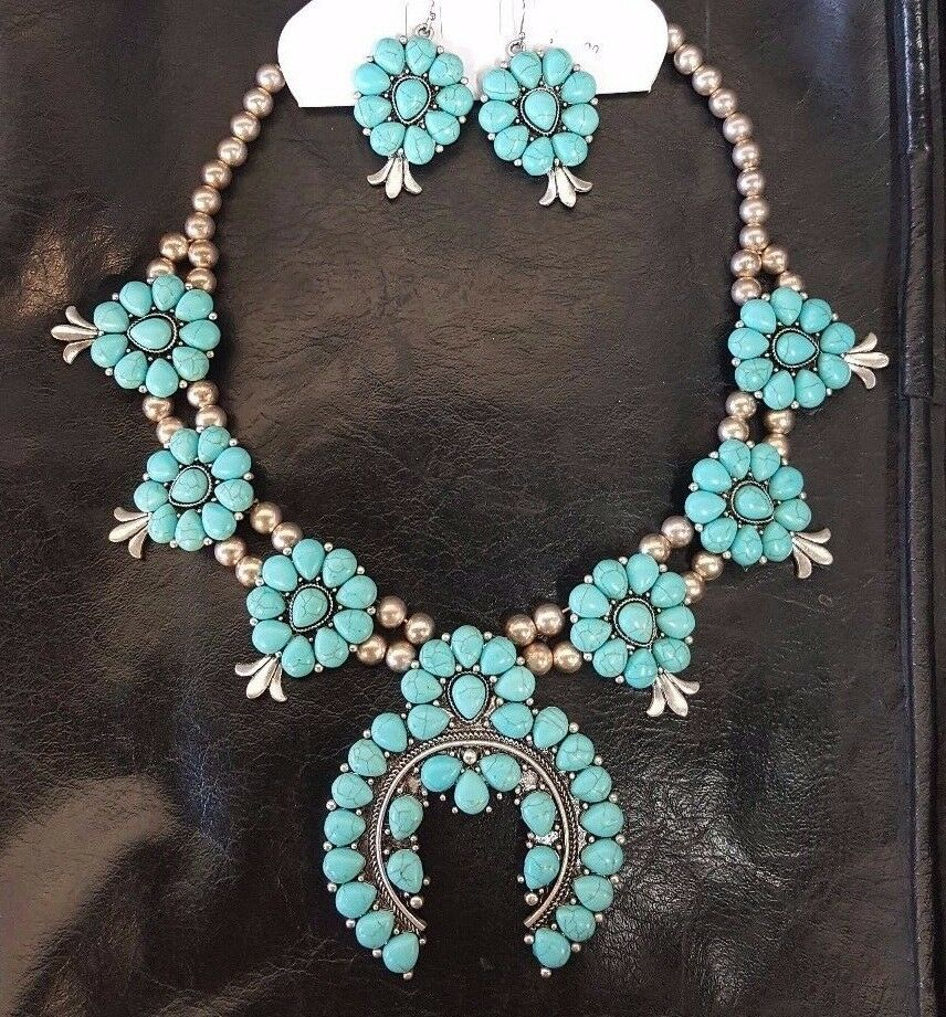 Costume jewelry squash blossom silver tone metal turquoise for Turquoise colored fashion jewelry