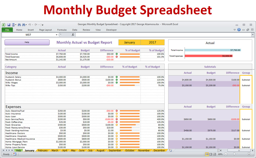 home budget spreadsheet - excel budget template