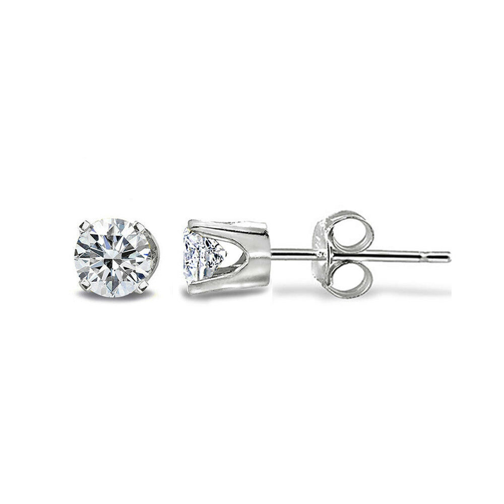 1 8 Ct Round Diamond 14k White Gold Tiny Stud Earrings H