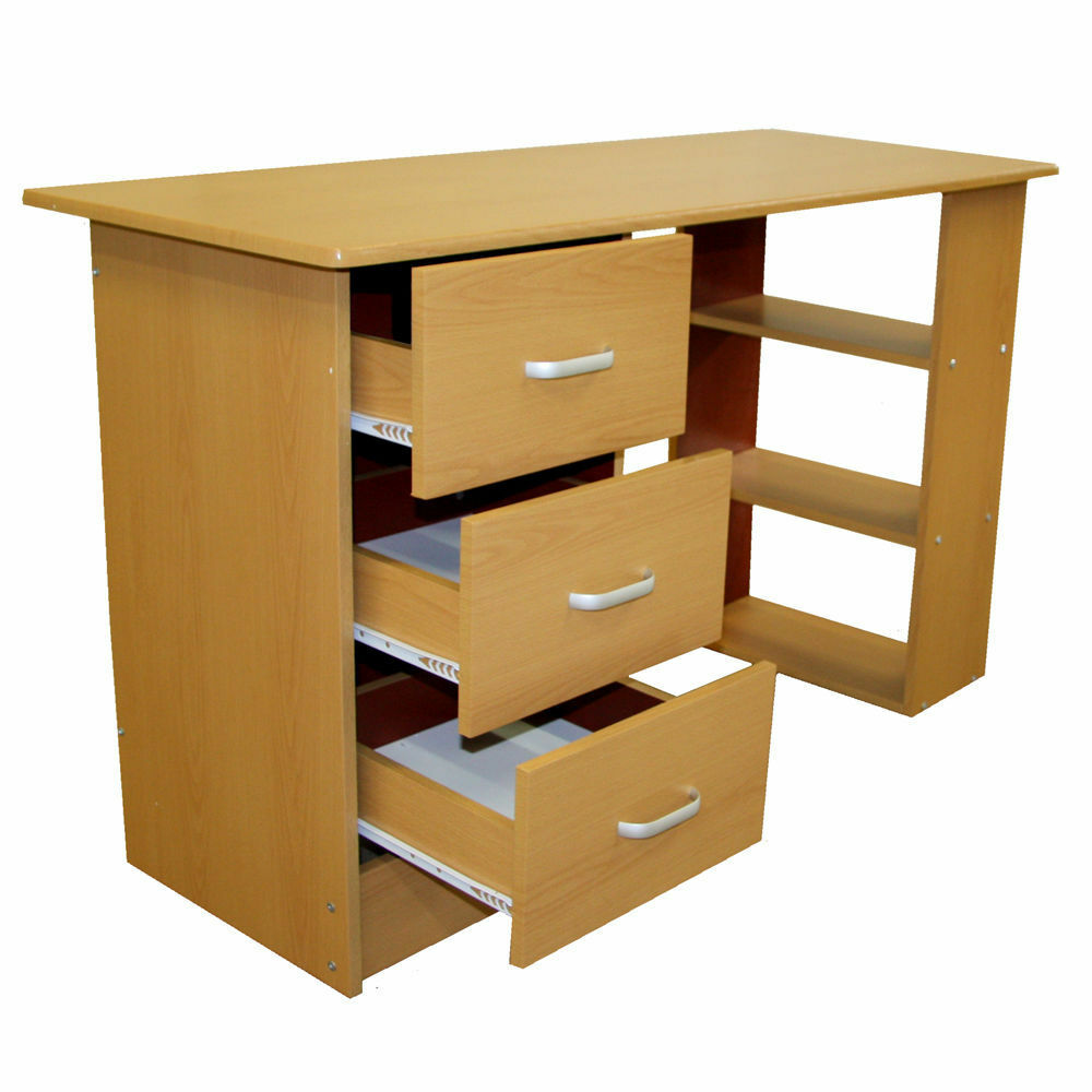Beech desk home office childs study childrens bedroom dressing table furniture ebay Home bedroom office furniture