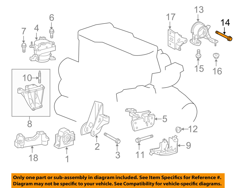 Toyota Scion Tc Engine Diagram Oem 11 16 Motor Transmission Rear Mount Bolt 9008010378 Ebay