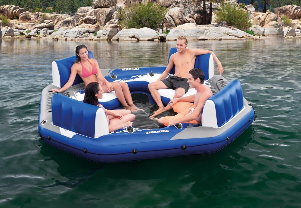 4 Person Inflatable Lake Raft Pool Float Ocean Floating