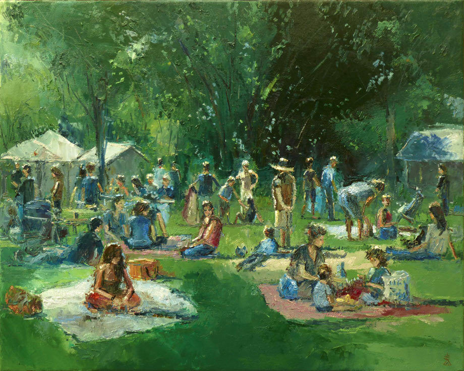 Picnic in the Park Original Large Oil Painting on Canvas ...
