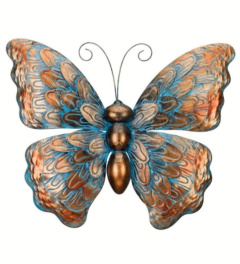 Copper patina butterfly wall art decor metal hanging for Outdoor butterfly decor