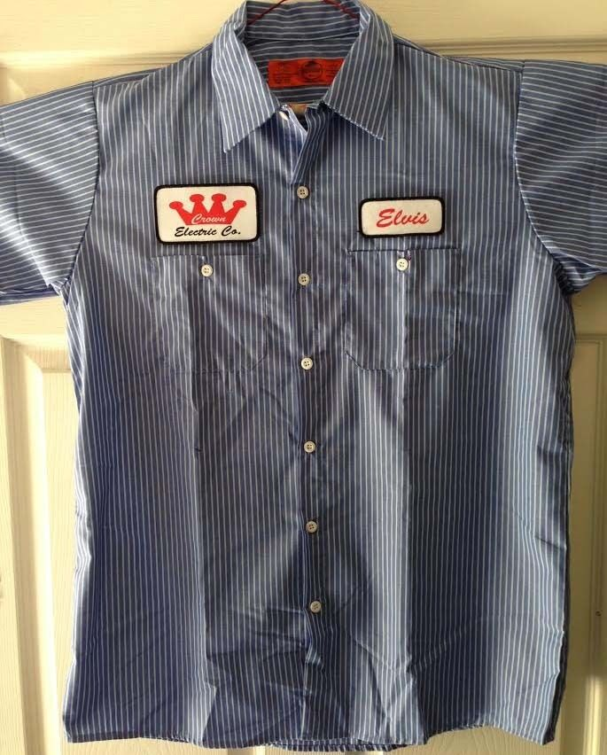 Elvis crown electric patch striped mechanic work shirt for Blue button up work shirt