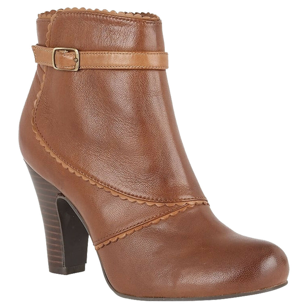 1d3e70e5d047 Details about LADIES LOTUS HALLMARK MORIE BROWN LEATHER HEELED ANKLE BOOTS