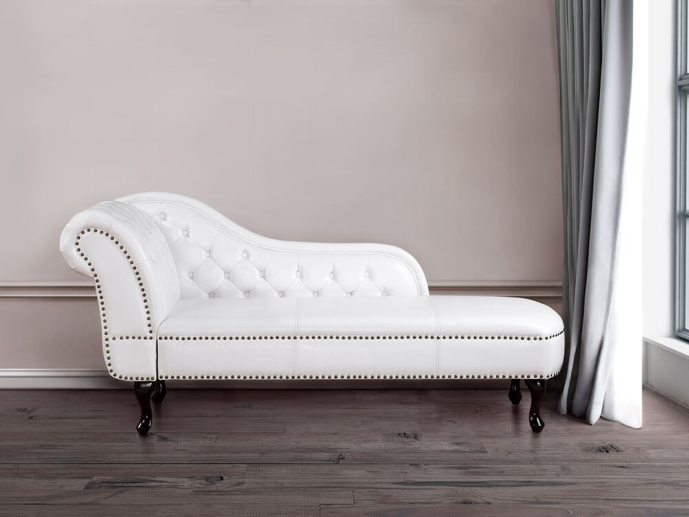 White Faux Leather Chaise Lounge Sofa Day Bed Longue ...