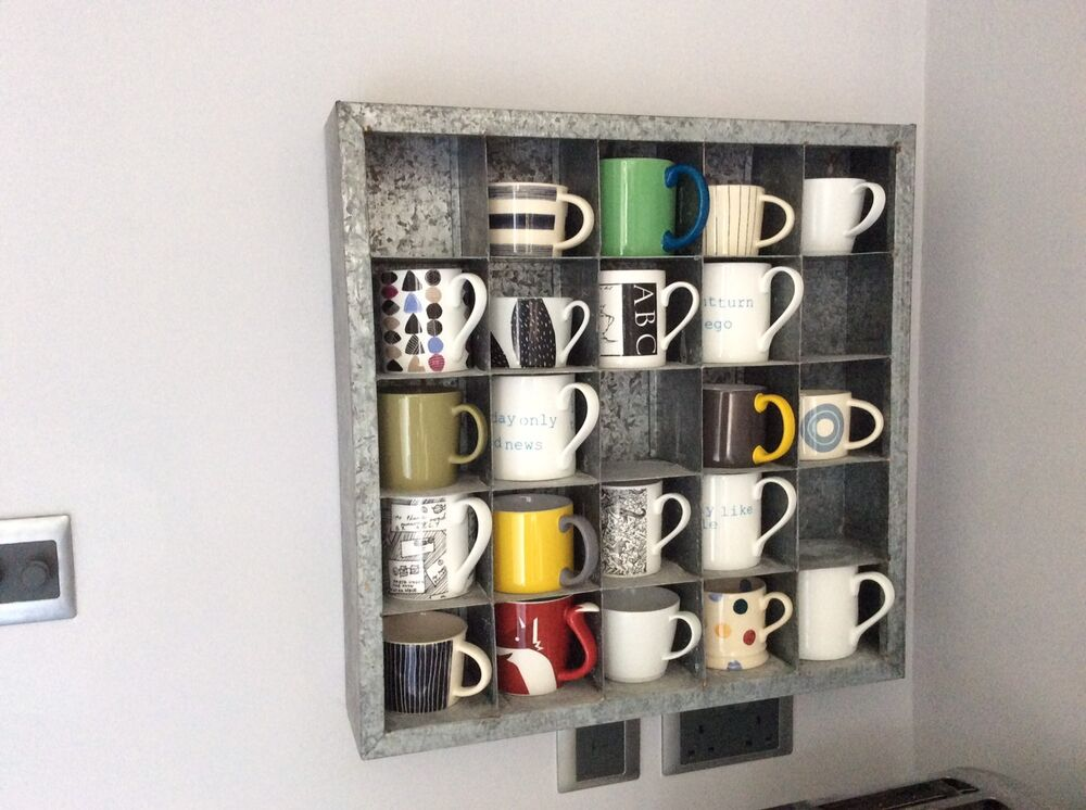 Kitchen display shelf cubed wall mounted galvanised for Kitchen display wall