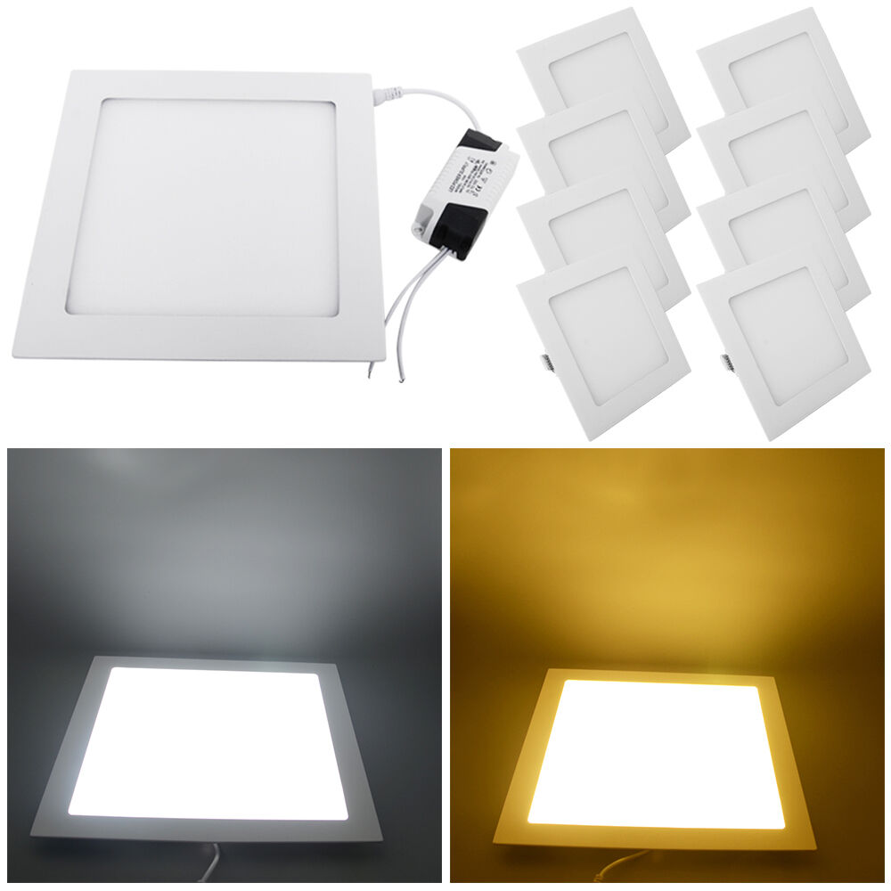 6w 12w 18w 24w Led Recessed Ceiling Flat Panel Down Light: Pack Of 10 Square LED Recessed Ceiling Panel Down Light 3W