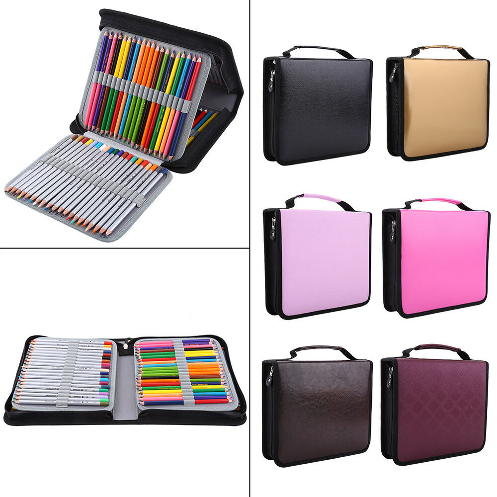 120 slots handy deluxe pu leather colored pencil holder. Black Bedroom Furniture Sets. Home Design Ideas