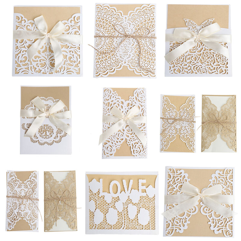Diy Wedding Invitations Kits: 10Pcs Invitation Wedding Card Kit With Envelopes Seals