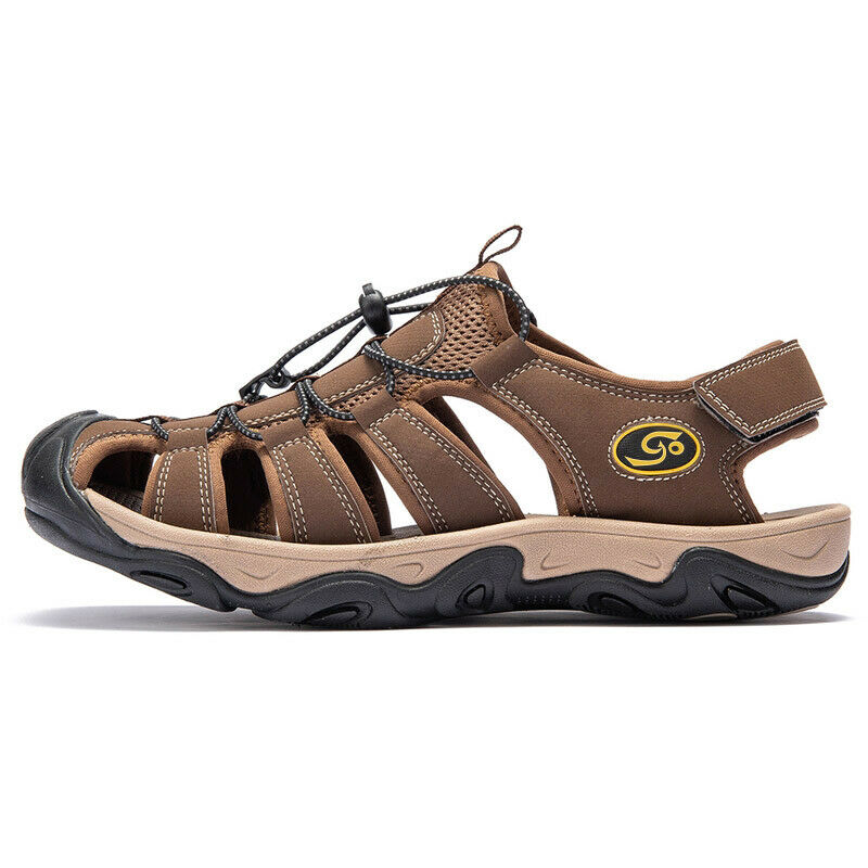 Mens big size hiking genuine leather sandals closed toe for Mens fishing sandals