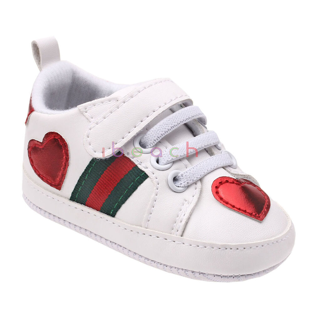 Newborn Baby Boy Girl White Sneakers Soft Sole Crib Shoes ...