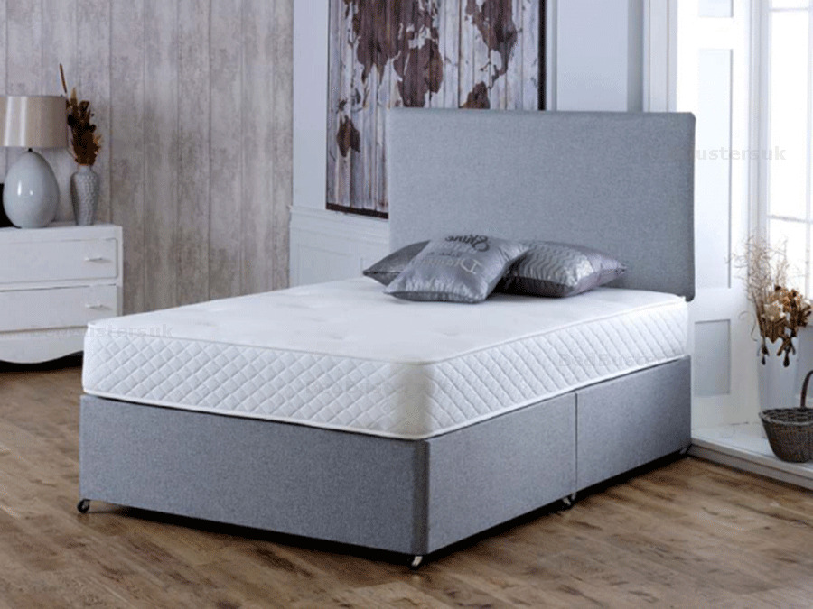 Memory Foam Grey Divan Bed Set With Mattress And Headboard