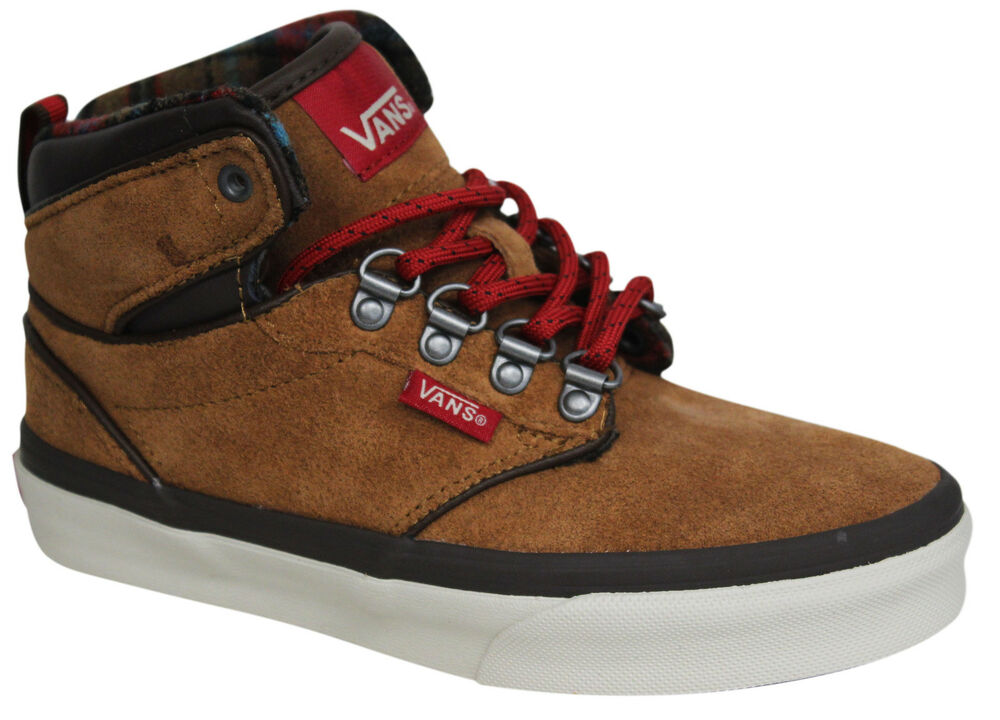 342924961c Vans Off The Wall Atwood Tan Leather Lace Up Kids Youths Hi Trainers VH19W7  D127