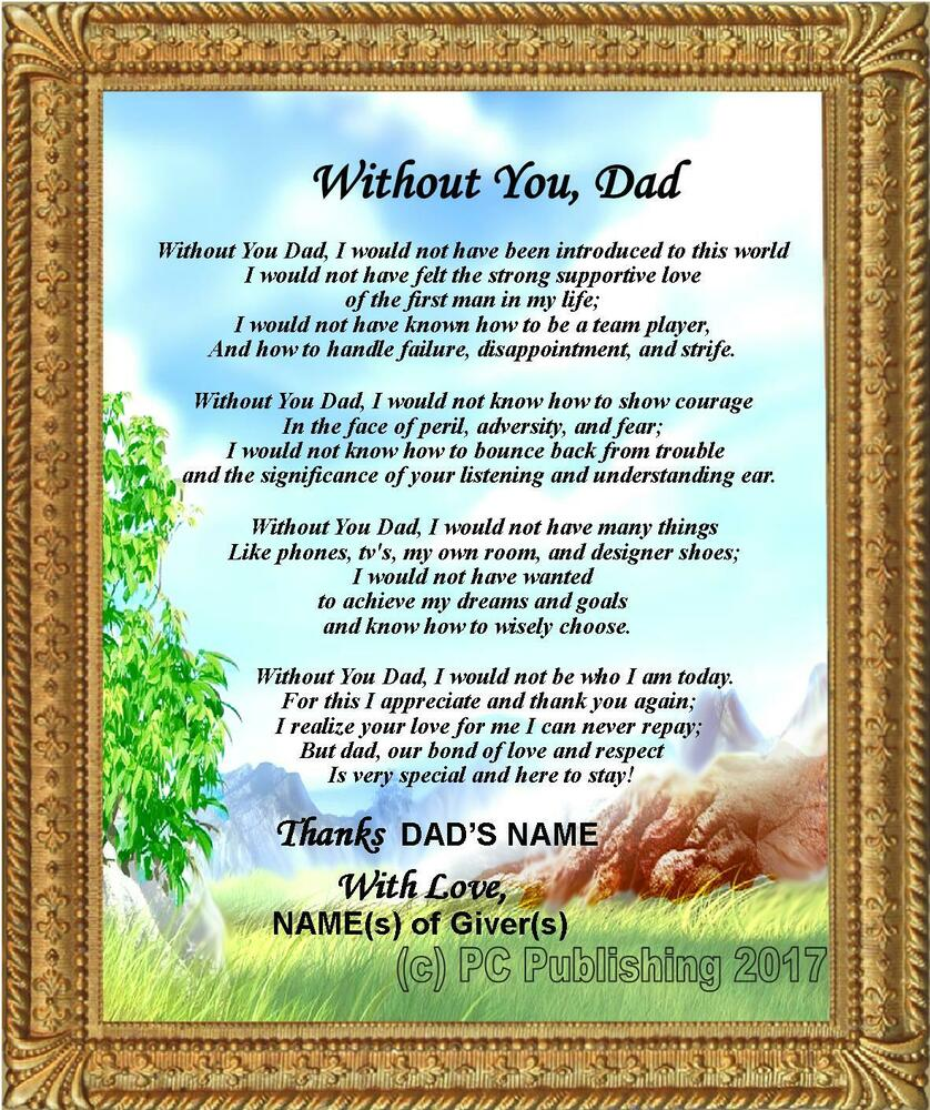 Personalized Dad Poem Without You,Dad Birthday