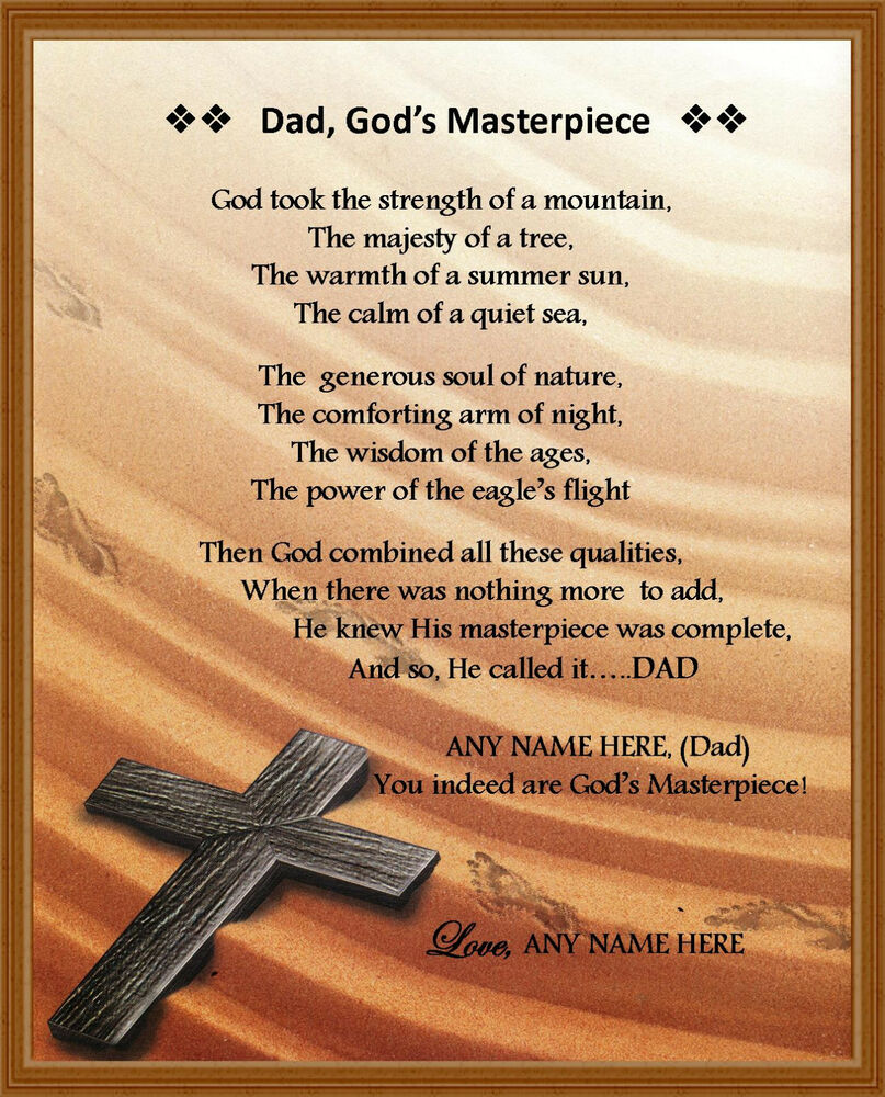 """Quotes For Fathers Day For Husband: Personalized Dad Poem """"Dad, God's Masterpiece"""" Gift For"""