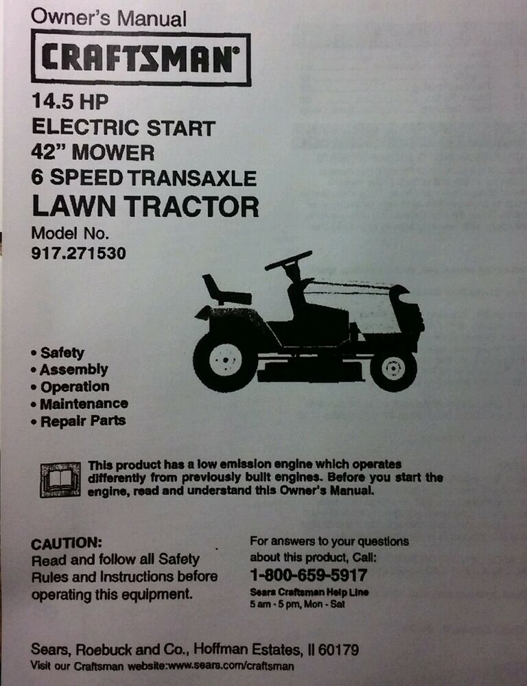 Craftsman Riding Lawn Mower Parts Manual : Sears craftsman hp lawn riding tractor quot mower