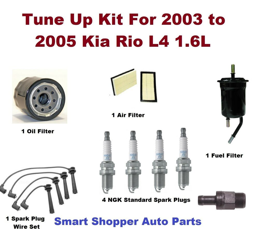Tune Up Kit For 03-05 Rio Spark Plug Wire Set, Spark Plug, Air Oil Fuel  Filter | eBay