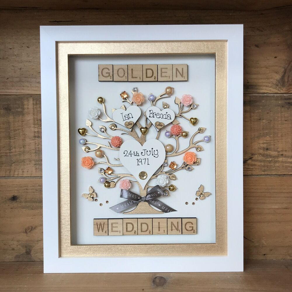 Wedding Anniversary List Of Gifts: BOXED FRAME SCRABBLE LETTERS RUBY GOLDEN SILVER WEDDING